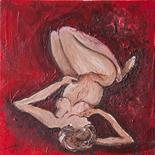 Jackie Laird `Nude 11` Oil on board 20cm x 20cm signed reverso & framed