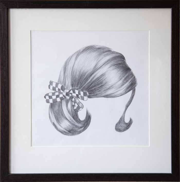Danielle Letaire `Buzz Cut` Pencil drawing 44cm x 44cm Label reverso & framed