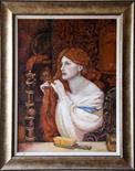 Linda Kerr `After Rossetti, Fazio`s Mistress` Oil on canvas 45cm x 50cm signed & framed