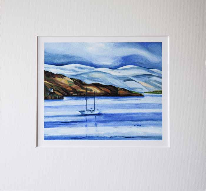 Christine Callum McInally `Winter Anchorage` Giclee print 20cm x 17cm framed