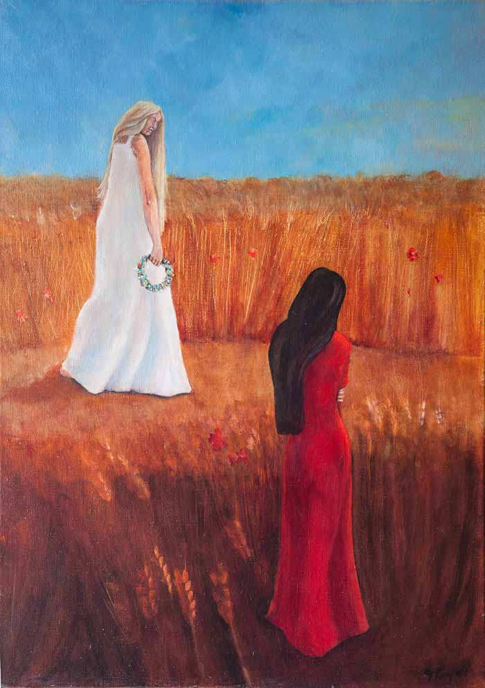 Yvonne Taylor `Persephone and Demeter` Acrylic on Canvas 50cm x 70cm signed and unframed