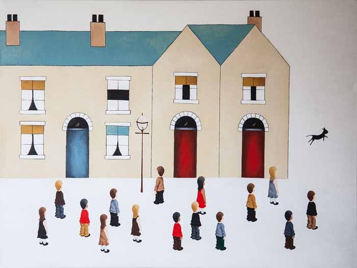 Scott Carruthers `Living on Lowry Street #1 Acrylic on Canvas 80cm x 60cm signed and unframed by