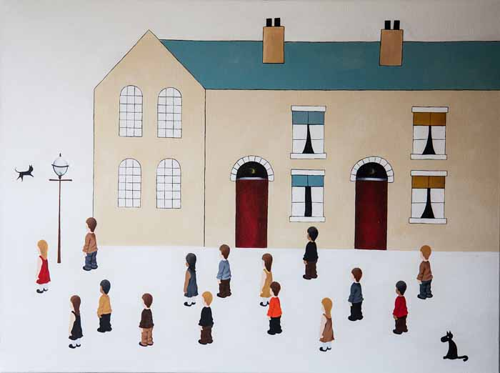 Scott Carruthers `Living on Lowry Street #2 Acrylic on Canvas 80cm x 60cm signed and unframed by
