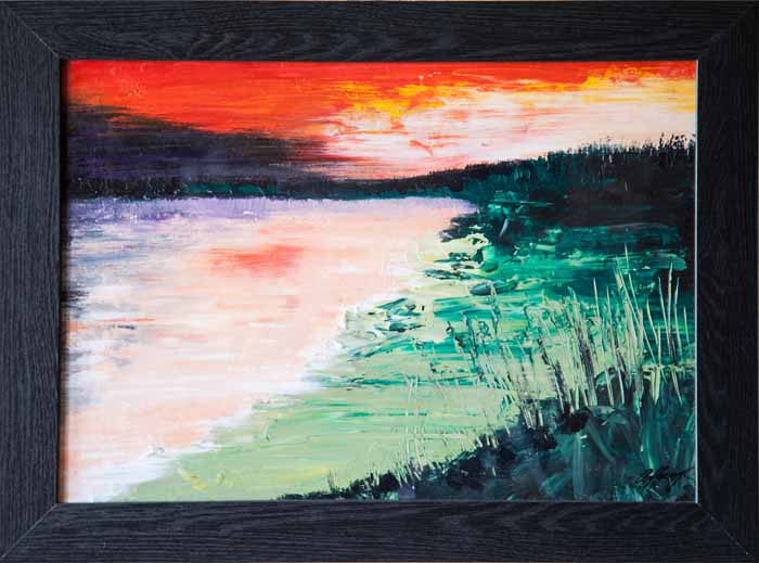 Annette Haigh `Sunset on Bay` Acrylic on Board 40cm x 30cm signed and framed