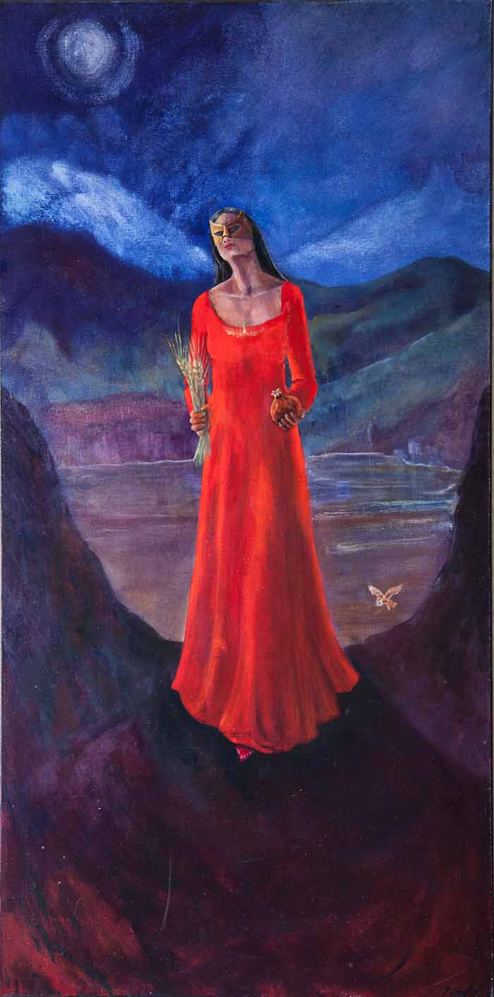 Yvonne Taylor `Persephone, Queen of the Underworld` Oil on Canvas 50cm x 100cm signed and unframed