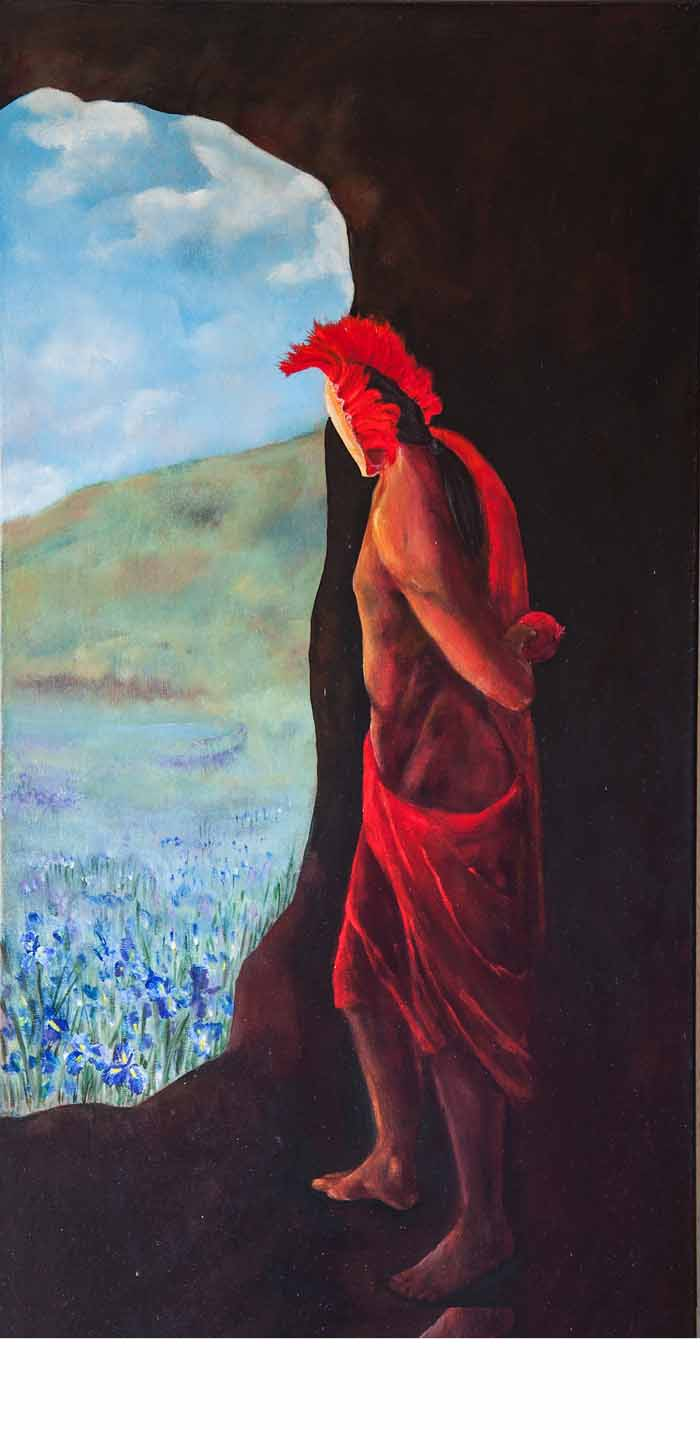 Yvonne Taylor `Hades` Oil on Canvas 50cm x 100cm signed and unframed