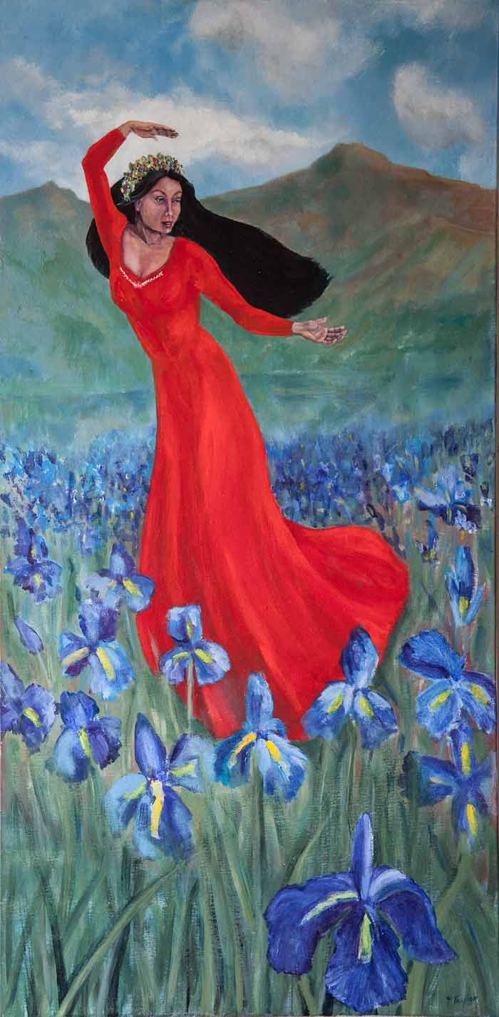 Yvonne Taylor `Persephone Dancing` Oil on Canvas 50cm x 100cm Signed and unframed