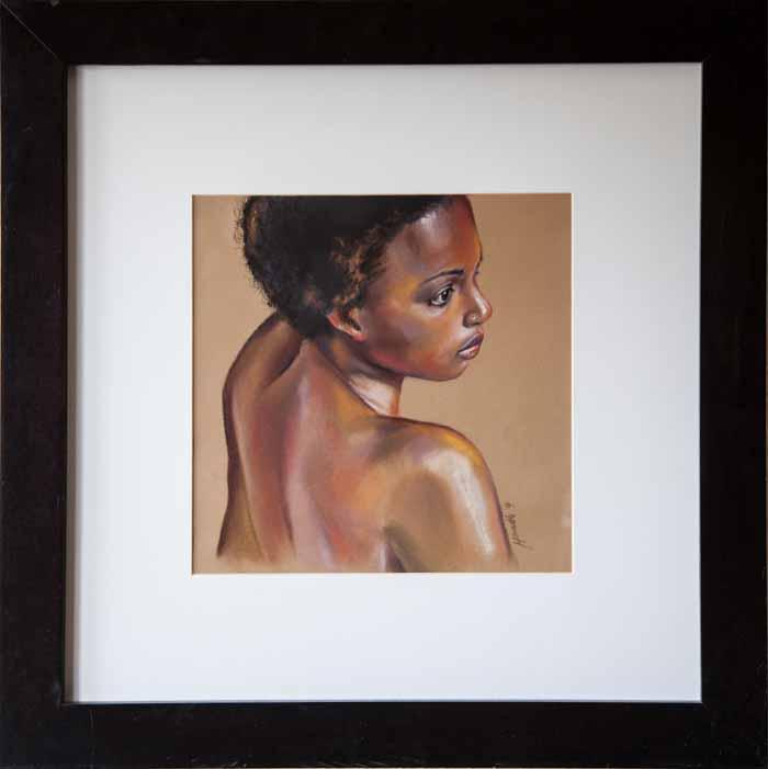 Lynn Howarth `Ebony` Pastel 29cm x 29cm signed and framed