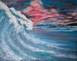 Debbie McBride `Big Wave` Acrylic on Canvas 50cm x 40cm Signed and unframed