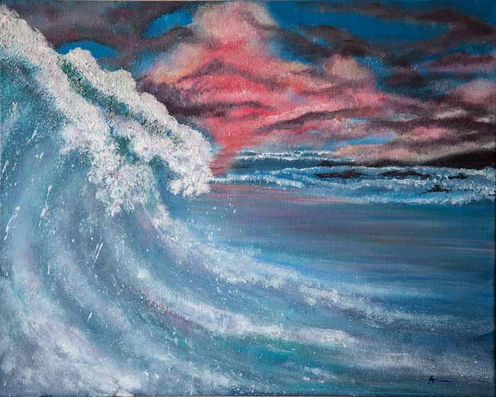 Debbie McBride `Big Wave` Acrylic on Canvas 50cm x 40cm Signed and unframed