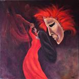 Yvonne Taylor `Persephone being taken to the Underworld` Acrylic on Canvas 50cm x 50cm signed and