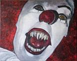 Caroline Elisabeth Gormley `Coulrophobia` Acrylic on Canvas 50cm x 40cm signed Reverso and unframed