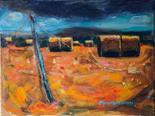Elisabeth Watson D.A `Harvest Bales` Oil on Canvas 40cm x 30cm signed and unframed