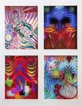 Jari Polackova Czech Republic Mixed Media photo drawings, group of four label Reverso framed Photo