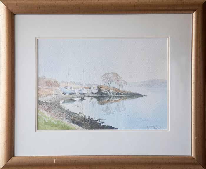 Angus Stewart `Salen, Mull` Watercolour 36cm x 25cm signed & framed