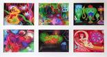 Jari Poloachova Czech Republic Mixed Media photo drawings, group of Six Label Reverso framed Photo