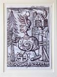 Ally Thompson `Atomic Steam Kaiser` Original drawing for larger work. 21cm x 29cm signed & framed