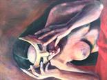 Yvonne Taylor `Persephone with Mask 2` Acrylic on Canvas 50cm x 70cm signed and unframed