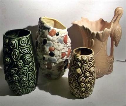 Four Large Sylvac Art Deco Vases 3358 Pebble Vase H299 Rosebud