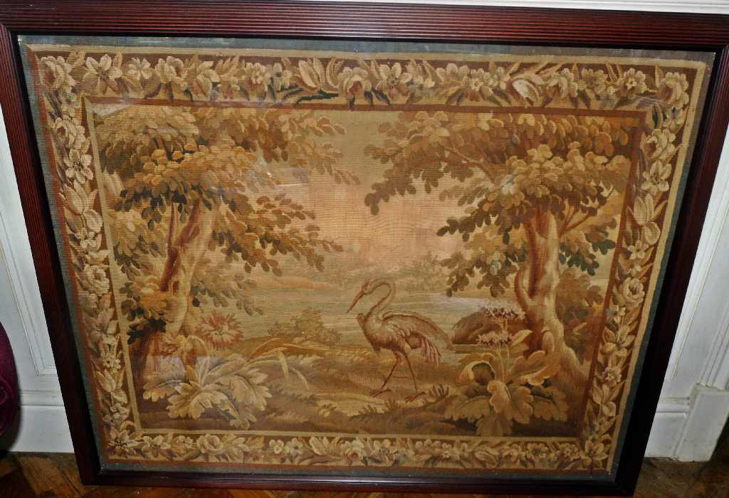 Lot 345 - A large17th century Flemish verdure tapestry panel c.1650 depicting a Heron in a classical landscape