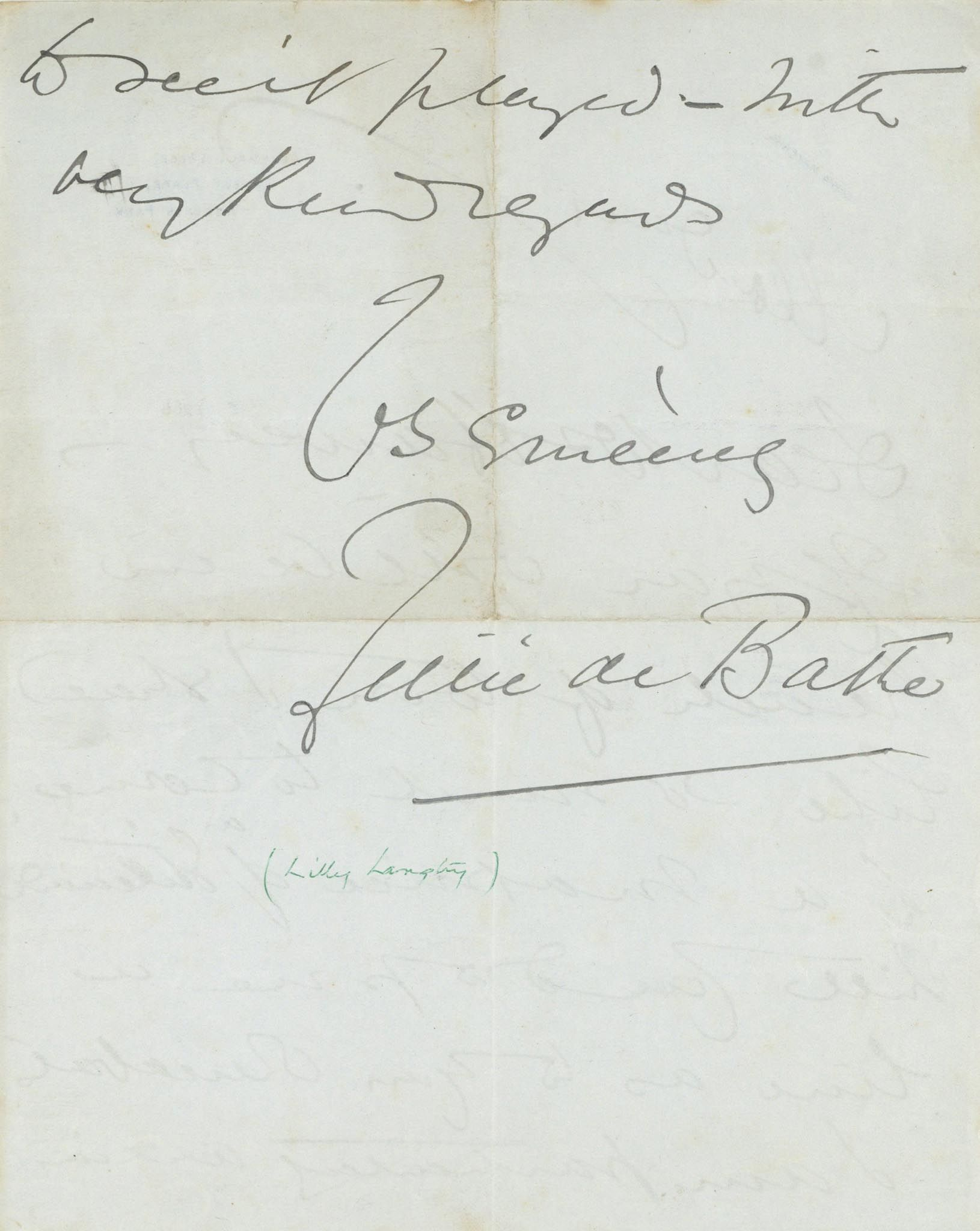 """Lot 52 - ALS A 25.5 x 20.3cm one page letter from Lillie Langtry on headed """"""""6543 Mayfair  ALS   A 25.5 x"""
