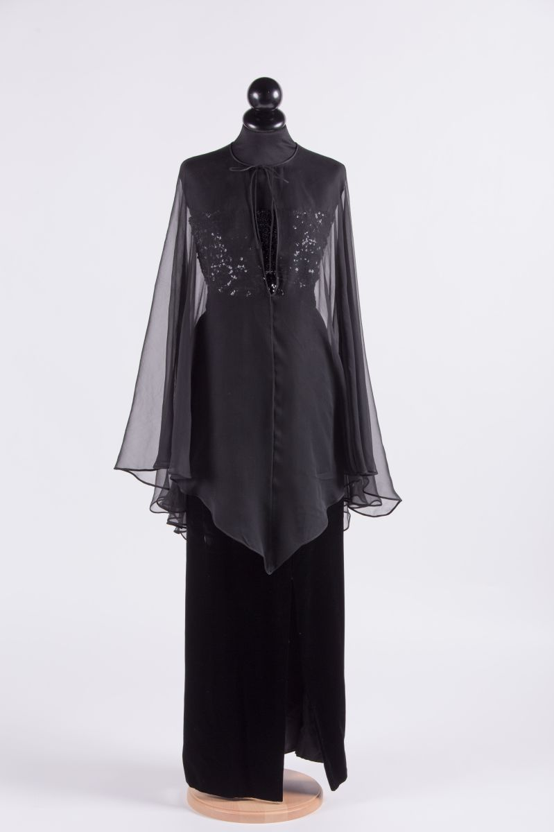 Lot 366 - Valentino 1979 Black silk outfit composed of a long silk velvet skirt, sequin top and silk chiffon