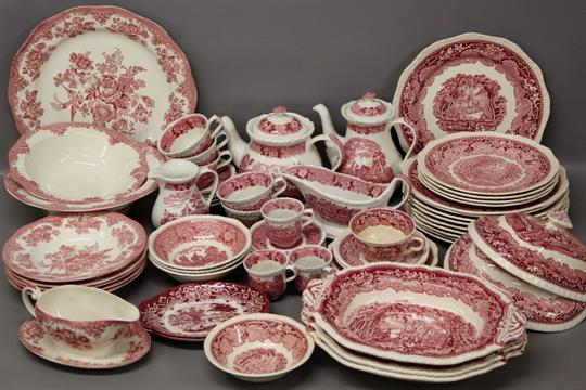 Assorted ceramic dinnerware including Masons pink \u0027Vista\u0027 Adams \u0027English Scenic\u0027 (pink) \u0026 Wedgw & Assorted ceramic dinnerware including Masons pink \u0027Vista\u0027 Adams ...