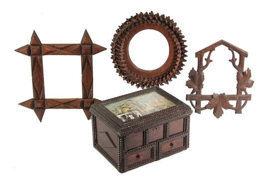 6) TRAMP ART FRAMES & JEWELRY BOX - Six Tramp Art Frames in various ...