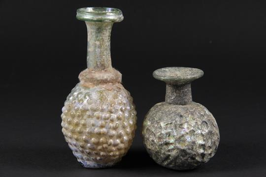 2 Rare Roman Glass Vases Two Mold Blown Vases In Green Glass