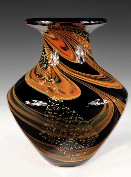 Art Glass Vase Vintage Art Deco Heavy Black Glass Urn Form Vase