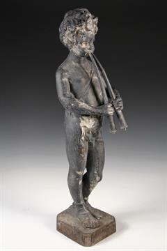 CAST LEAD GARDEN STATUE   Black Painted Lead Sculpture Of A Standing Pan  Figure, As A Young Boy