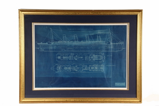 """Lot 103 - TITANIC BLUEPRINT DRAWING - Marconi Radio Blue Print for """"The White Star Triple-Screw Steamers `"""