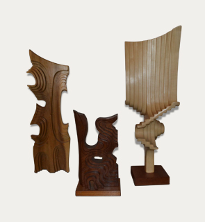 Lot 25 - Brian Wilshire Sculptures c,1970 Set of three abstract Brian Wilshire sculptures, England. Height: