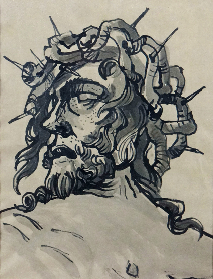 Lot 96 - SIR KYFFIN WILLIAMS RA pen and ink; portrait of Christ wearing crown of thorns entitled `De Matzen