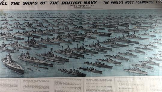 A framed poster entitled `All the Ships of the British Navy - the
