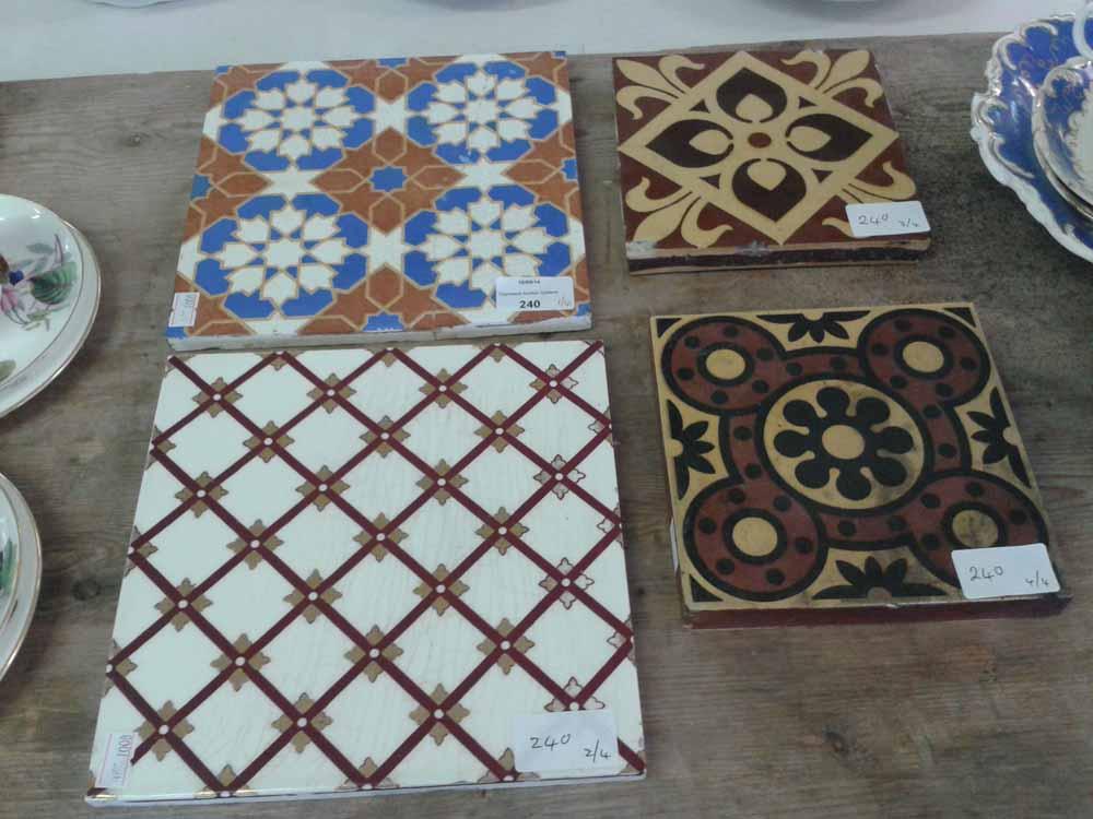 2 Encaustic Floor Tiles By W Godwin Of Hereford 2 Minton Tiles 1