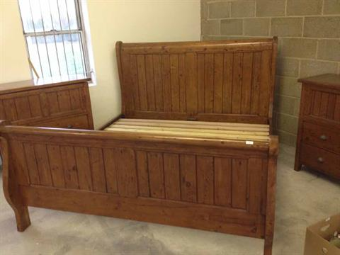 A Super King Size 6 Foot Reclaimed Pine Sleigh Bed Frame By Irish