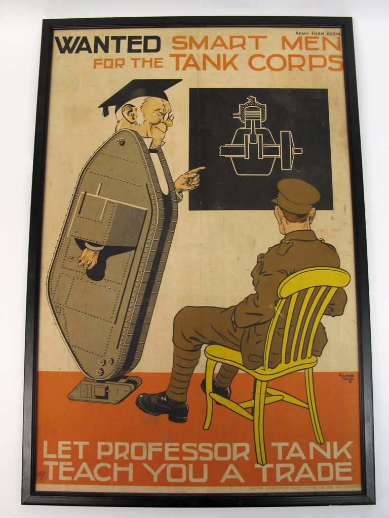 """Rare """"Wanted Smart Men For The Tank Corps"""" recruiting poster shows a ..."""