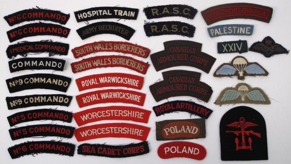 British Cloth Shoulder Titles & Insignia including various