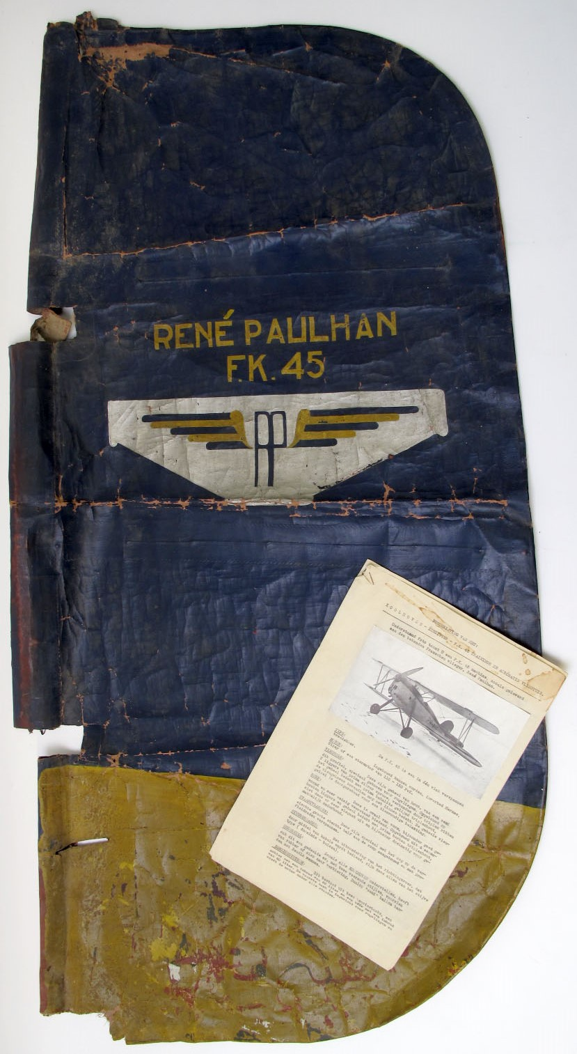 Lot 35 - Rare and Historic Aircraft Tail Fin Canvas From the only Koolhoven F.K.45 Aerobatic Biplane Ever