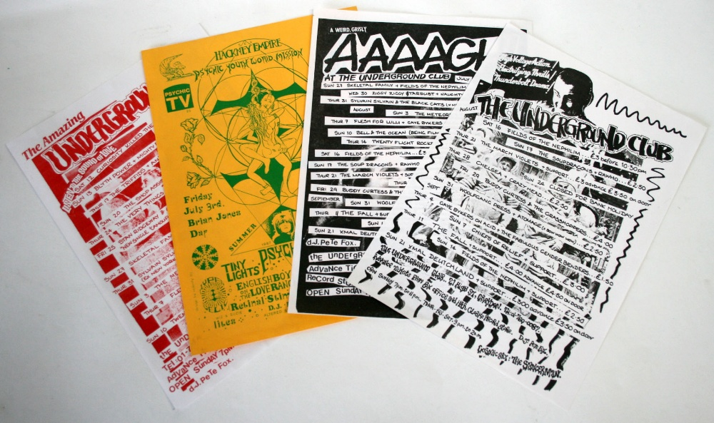 "Lot 196 - Four concert flyers (8""x 12"") 1986-87 for the Underground Club Croydon & Hackney Empire including"