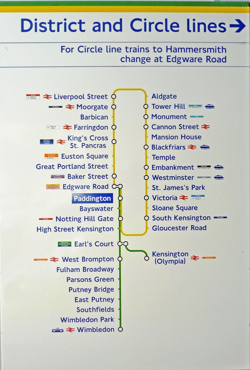 London Underground ENAMEL LINE DIAGRAM from Paddington Station for ...