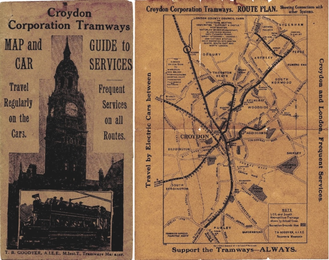Lot 132 - Croydon Corporation Tramways MAP & GUIDE TO SERVICES dated February 1924. Somewhat fragile with a