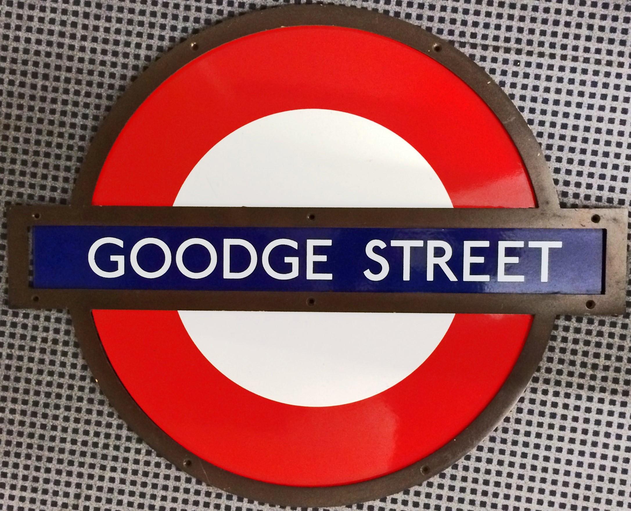London Underground Enamel Roundel Sign From Goodge Street Station On