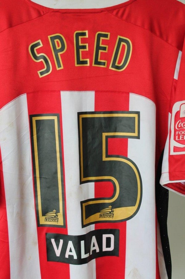 Lot 14 - Gary Speed`s Sheffield shirt -  Gary Speed`s Sheffield United matchworn shirt from March 2008.