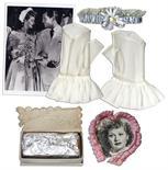 Lucille Ball Bridal Lot -- 5 Items From Her 1949 Church Wedding to Desi Arnaz -- Garter, Gloves,