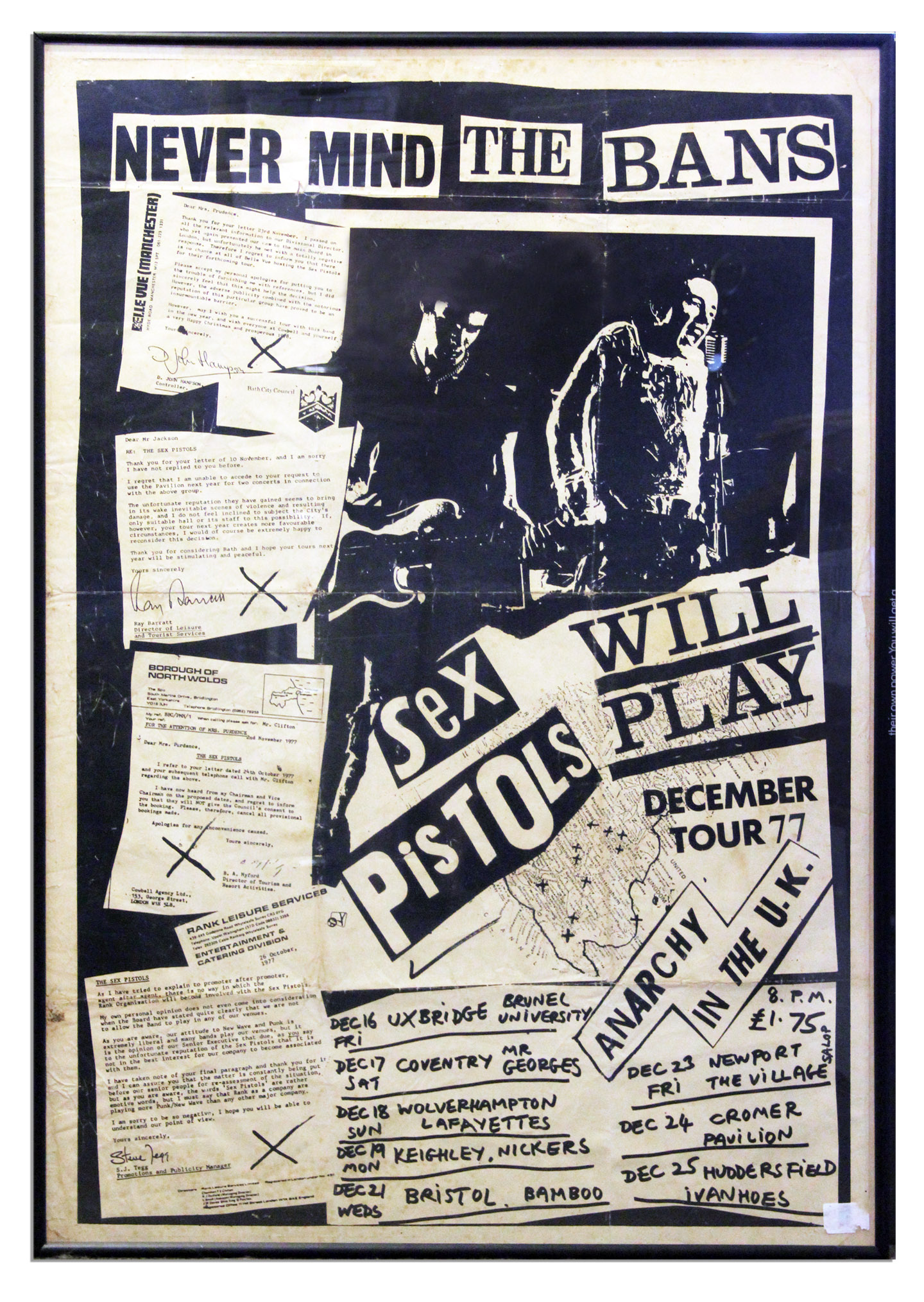 Scarce Sex Pistols Poster for Their Final Tour in the UK -- Poster Full of Quotes by Venues