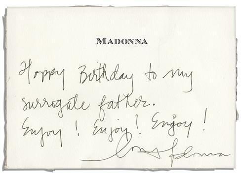 Madonna Birthday Card Signed Happy Birthday To My Surrogate