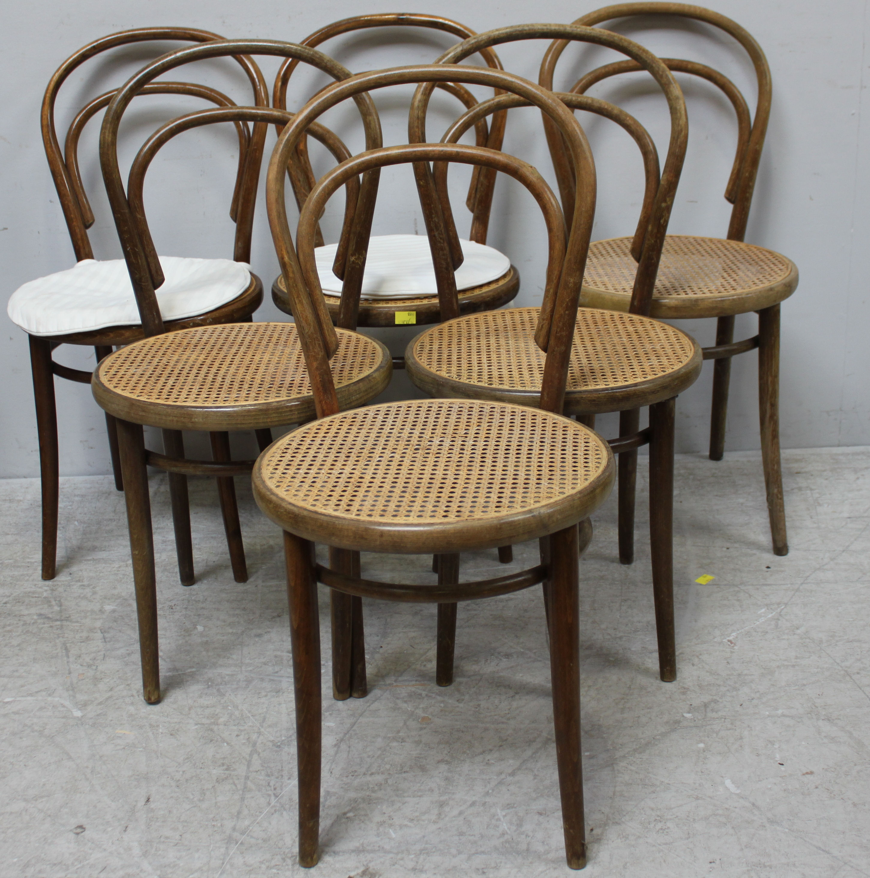 Six bentwood style chairs by Drevounia with caned seats