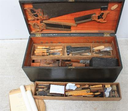 A Portsmouth Dockyard Cabinet Makers Tool Box Carpentry Tools And